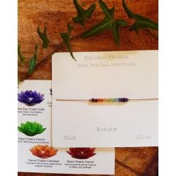 Rainbow Chakra Semi Precious Stones Silk Bracelet