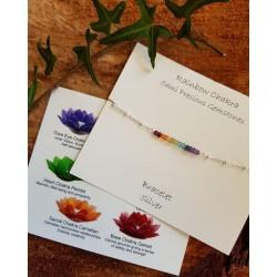 Rainbow Chakra Semi Precious Stones Silver Bracelet