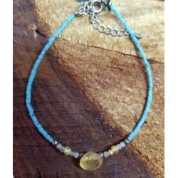Beaded Bracelet with Citrine Droplet