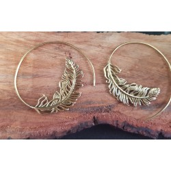 Brass Earrings Feather Spiral 45mm