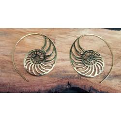 Brass Earrings Ammonite 40mm