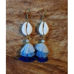 Cowrie Shell and Tassel Earings