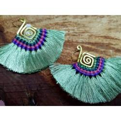 Macrame Boho Tassel Earings Olive Green