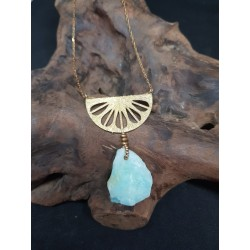 Brass and Stone necklace with Rough Andean Opal