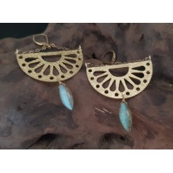 Polished Labradorite and brass Earings