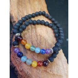 Chakra Bracelet with Lava stones and semi precious gem Stones