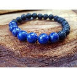 Lava stone bracelet with Lapis Lazuli 8mm beads