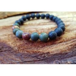 Lava stone bracket with Porcelain Jasper 8mm beads