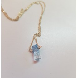 Tiny Aquamarine crystal set on a Silver chain