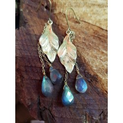 Brass gold plated leaves with Labradorite droplets
