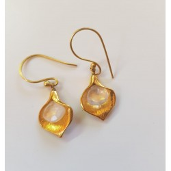 Gold Plated brass with faceted moonstone