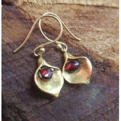 Gold Plated Brass with Garnet faceted droplets
