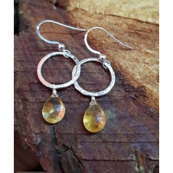 Citrine droplets on silver hoops. 28mm