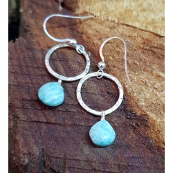 Amazonite set on hammered silver hoops 26mm in length