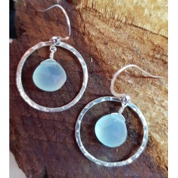 Aqua blue Chalcedony droplets set in hammered silver hoops 22mm