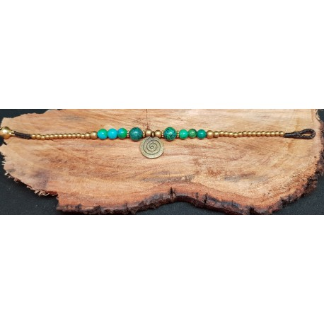 Boho Brass Bracelet  Turquoise and green coloured beads