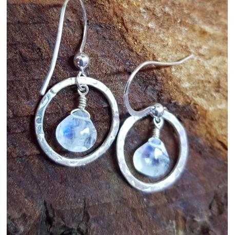 Silver hoop earings with Moonstone droplets