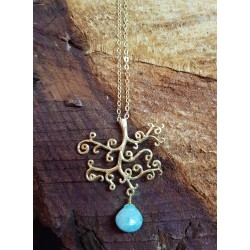 Gold plated Brass Tree Necklace with Amazonite droplet