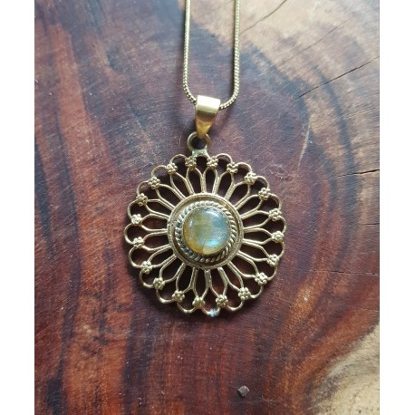 Brass Necklace with Labradorite