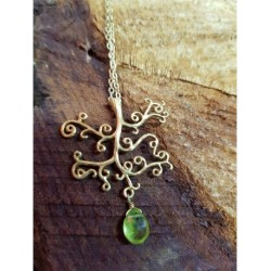 Gold Plated Tree Necklace with Peridot faceted droplet