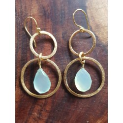 Fern Range Brass Gold plated with Stones Double Hoops with Aqua blue Chalcedony droplets faceted 50mm in length and
