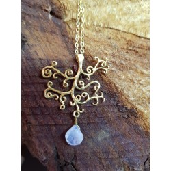 Gold plated Brass Tree Necklace with Moonstone Droplet