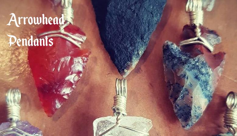 Wire wrapped stone arrowhead pendants